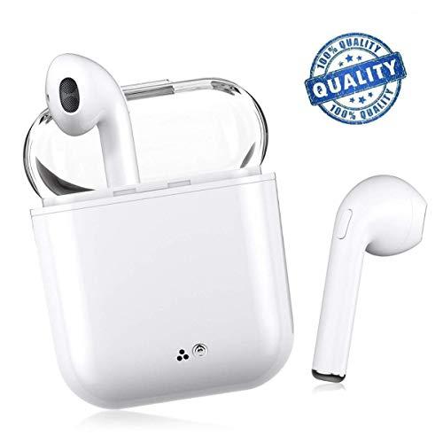 Auriculares Bluetooth, V4.2 Auriculares Inalámbricos Bluetooth, Estéreo Impactante, Con Micrófono y Caja de Carga, Auriculares Intrauditivos para iPhone Samsung y otros Teléfonos Inteligentes (Blanco)