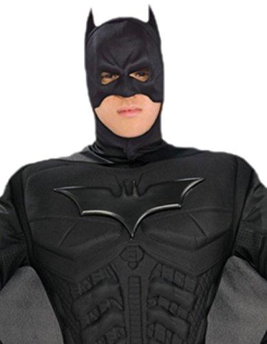 erdbeerloft - Herren Kostüm Batman mit Muskel-Jumpsuit, Überziehstiefeln, Kopfteil, Umhang und Gürtel, XL, Weiß -