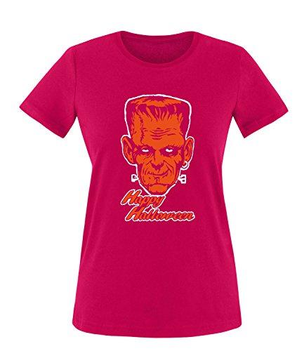 Luckja Happy Halloween Damen T-Shirt Sorbet-Orange Grösse XXL
