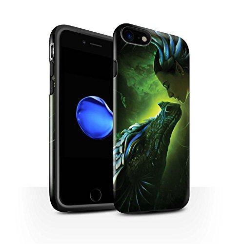 Officiel Elena Dudina Coque / Brillant Robuste Antichoc Etui pour Apple iPhone 8 / Eau/Bébé Design / Dragon Reptile Collection Écailles Vertes