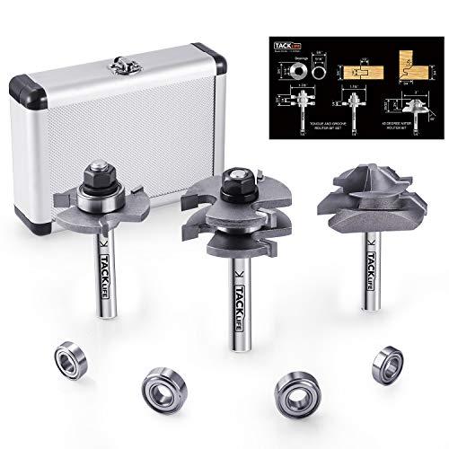 Router bit set, tacklife 3pcs 8mm frese punte per scanalature, router bits, custodia in alluminio, strumenti per la lavorazione del legno per la casa e fai da te - rb31c