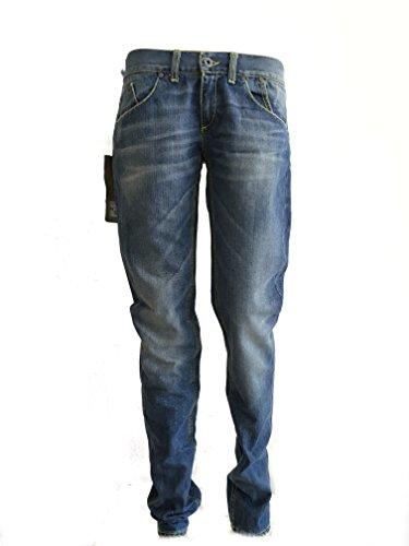 Dondup Jeans Blondie Donna, Lavaggio Jeans chiaro con cuciture giallo acido Made In Italy (28, blu jeans chiaro)