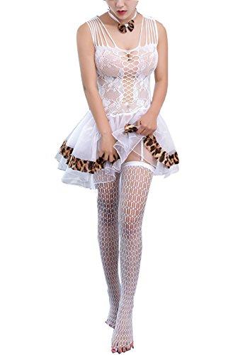 Yidarton Damen Spitze Unterwäsche Dessous Set Kostüme Babydoll Lingerie Reizwäsche (Weiß)