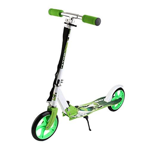 Cimiva Scooter Roller Cityroller Kinderroller Tretroller Kickroller Kickscooter Kinder Klappbar 2 Räder, Einstellbare Höhe von 95cm -106cm (Grün)