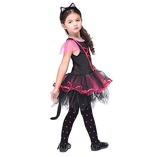 YiZYiF Kinder Mädchen Katze Kostüm Cosplay Halloween Kostüm Karneval Fasching Partykleid Verkleidung mit Orhen (110-116, Schwarz + (Für Katze Kostüm Ein Halloween)