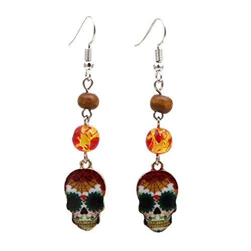 (Reosu Allerheiligen Totenkopf Halloween Deko Halloween Ohrringe Kunststoff 6.5 Länger Orange)