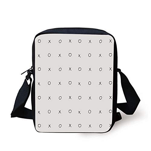 Cross Zero Pattern Classic Game Tic Tac Toe in Black and White Colors,Black White Print Kids Crossbody Messenger Bag Purse ()