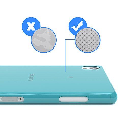 "EAZY CASE Handyhülle für Sony Xperia Z2 Hülle - Premium Handy Schutzhülle Slimcover ""Clear"" hochwertig und kratzfest - Transparentes Silikon Backcover in Gold Clear Hellblau"