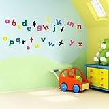 'Vinyl Concept Wandaufkleber für Kinder Krippe Buchstaben-Alphabet, leicht zu entfernen, silber, L
