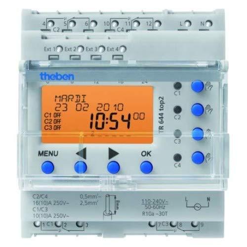 Theben 6440100 TR644 top2 - digitale 4-Kanal Zeitschaltuhr mit Jahres- und Astro-Programm, sowie 4 externen Eingängen, Zeitschalter