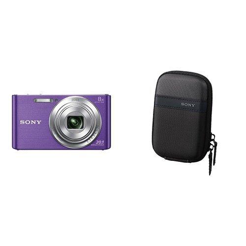 Sony dsc-w830 fotocamera digitale compatta cyber-shot, viola con sony lcs-twp custodia da trasporto, nero