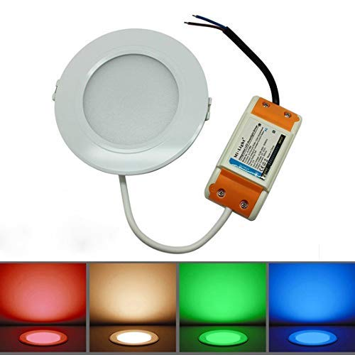 2.4G Wireless Downlight, Mi.Light Dimmer 2700k-3200k Warm 6000k-6500k Cool White RGB - 16 Millionen Farben Chaning RGB-CCT Scheinwerfer mit Hf - Fernbedienung 16 Zone Control Panel