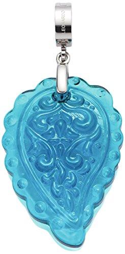JEWELS BY LEONARDO Damen-Anhänger & clips Novello Darlin's Edelstahl Glas turquoise silber Clipverschluss Blüte Blume Paisley 016547