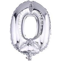 Y-BOA–Mylar palloncino fai da te numero 0–9Carnevale Argento Alluminio 16pollici anniversario/partito/Natale/partito/giardino/decorazione, 0, Taglia unica