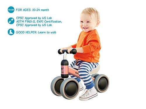 MZ Bicicleta para Bebés de 1 Año Draisinne Chica Niño 10-24 Meses Juguetes Regalo de Aniversario 1 Años Bicicleta Bebé Equilibrio (Rosa)