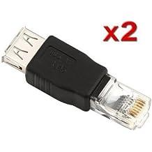 SODIAL(R) 2 x Adaptador Convertidor Conector Ethernet RJ45 Macho a USB Hembra + Lazo de Cable Gratuito