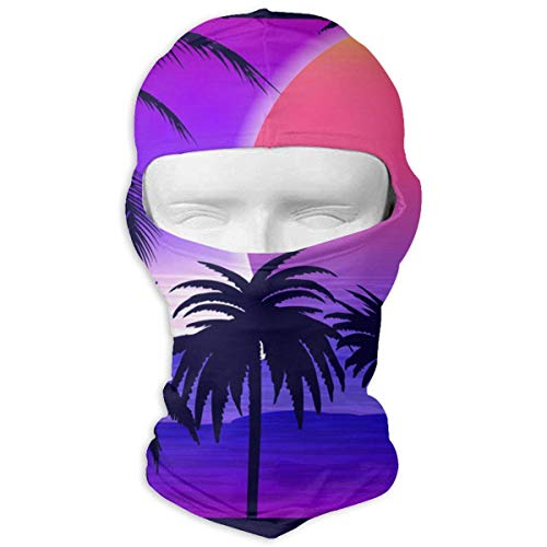 Vidmkeo Palm Trees On Tropical Sunrise Winter Tactical Full Face Mask Windproof Neck Cover Hood for Men and Women ()