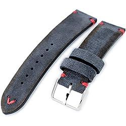21mm MiLTAT Dark Grey Genuine Nubuck Leather Watch Strap, Red Stitching, Polished
