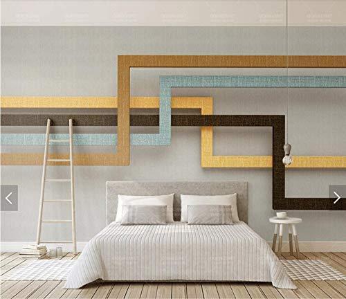 Natürlichem Leinen-finish (WORINA 3D abstrakt Leinen Finish Geometrie Streifen Retro Luxus Wand Papier Wandbild Wohnzimmer Leinwand Seidentuch Fototapete Große Größe, 350x245 cm (137.8 by 96.5 in))