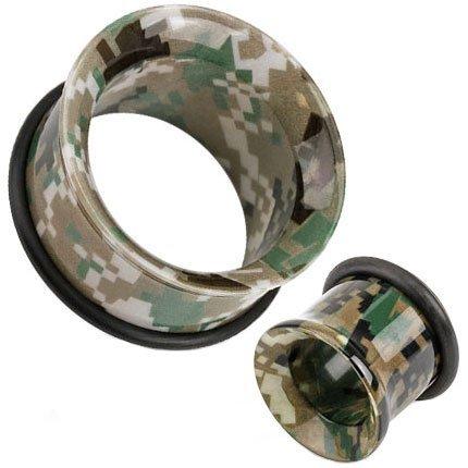 25 mm grün, braun, UV Acryl-Pixelated Camo Printed Single Flared Ohr Messgerät Flesh Tunnel Sattel-Plug Ohrring -