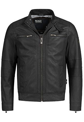 Indicode Herren Germo Lederjacke 100% Lammleder Bikerjacke Jacke Echlederjacke Black XL