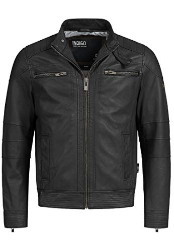 Indicode Herren Germo Lederjacke 100% Lammleder Bikerjacke Jacke Echtlederjacke Black 3XL -