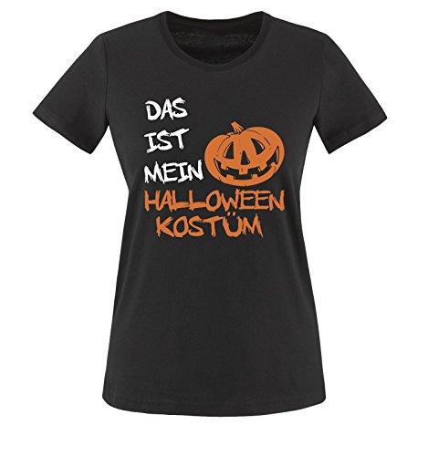 Comedy Shirts - DAS IST MEIN HALLOWEEN KOSTÜM KÜRBIS - Damen T-Shirt Schwarz / Weiss-Orange Gr. (College Halloween Jungs Kostüme)