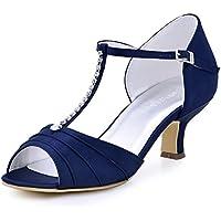 ElegantPark EL-035 Donna Peep Toe Tacco medio Strass increspato T-Strap da sposa in raso di promenade nuziale pompa i pattini