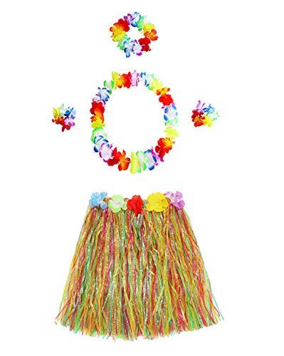 iian Hula Tänzer Gras Rock Blume Leis Kostüm Set Party Gefälligkeiten (5Pcs) ()