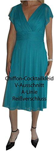 Chiffon-Cocktailkleid, knielang, schulterfrei, A-Linie, etwa knielang, Reißverschluss, guter Sitz LKAF6011-türkis