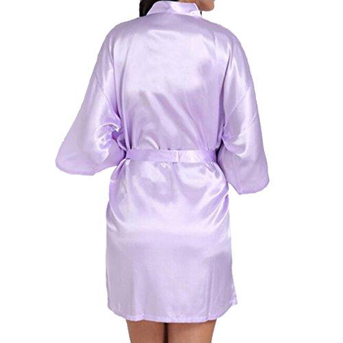 Brautjungfer Robe Hochzeit Kimono Bademantel Satin Seide GownLight Purple Mothe der Braut ()