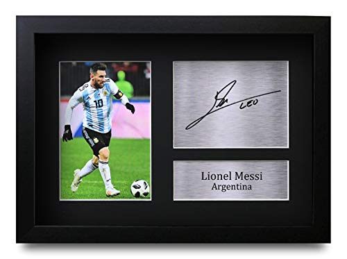 HWC Trading Lionel Messi A4 Gerahmte Signiert Gedruckt Autogramme Bild Druck-Fotoanzeige Geschenk Für Argentina Barcelona Fußball Fans