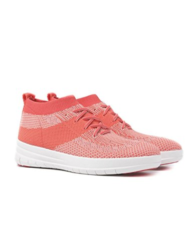 FitFlop Frauen Ãœberknit Slip-on High Top Sneaker - Hot Coral & Neon Blush, Rosa, 38 (Turnschuhe Rosa Hot)