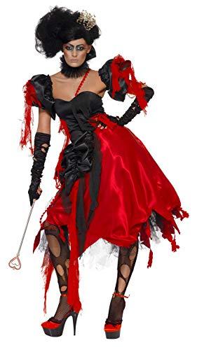 Smiffys, Damen Herzkönigin Kostüm, Kleid, Ärmel und Halsband, Größe: M, ()