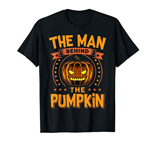 Mann hinter dem Kürbis Halloween Schwangerschaft  T-Shirt (Gruselig Schwangerschaft Halloween-kostüme)