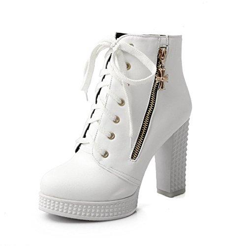 VogueZone009 Damen Hoher Absatz Weiches Material Niedrig-Spitze Rein Schnüren Stiefel Weiß