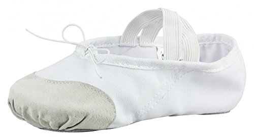 tanzmuster Ballettschuhe / Ballettschläppchen aus Leinen mit Lederverstärkung, geteilte Sohle, für Kinder und Erwachsene in weiß in den Größen 22-45. Weiß