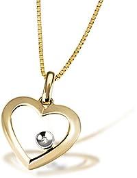 Goldmaid Damen-Herz-Halskette Herz 585 Gelbgold Diamant 0,005ct  45cm HeC3705GG Herzanhänger Diamantkette