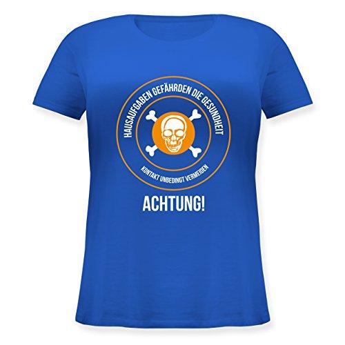 Statement Shirts - Hausaufgaben gefährden Die Gesundheit - Lockeres Damen-Shirt in Großen Größen mit Rundhalsausschnitt Blau