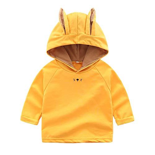Kobay Kinder Jungen Mädchen Cartoon Rabbit Ears Hooded Tops Sweatshirt(18-24M,Gelb) - Agent Hooded Sweatshirt