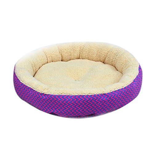Winter Warm Round Dog Bed Soft Kitten Puppy House Pets Mat Sofa For Small Dogs-Red Blue V-Shaped Pattern S