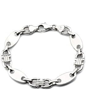 925 Silberarmband: Plattenarmband Silber rhodiniert mit der Breite 10mm und auswählbare Länge 21cm und 23cm