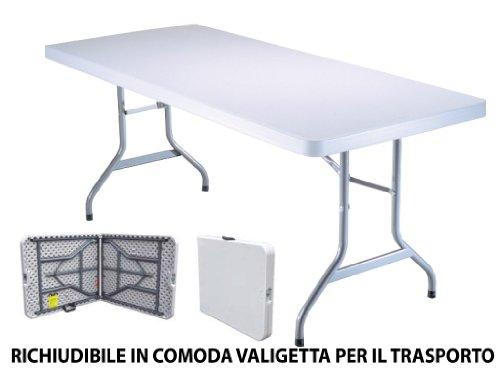 Tavoli In Plastica Pieghevoli.Tavolo Tavolino Pieghevole Set Birreria In Dura Resina 183x76xh72