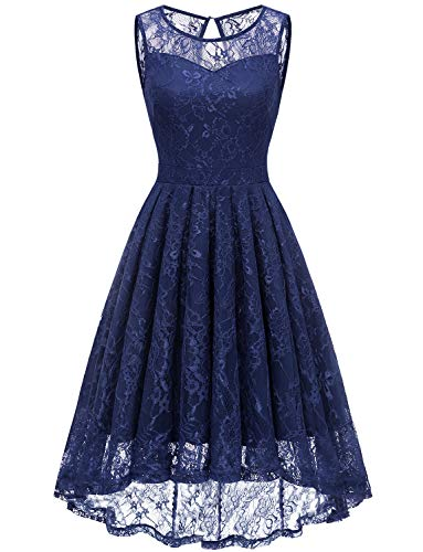 empire abendkleid Gardenwed Damen Kleid Retro Ärmellos Kurz Brautjungfern Kleid Spitzenkleid Abendkleider CocktailKleid Partykleid Navy 2XL