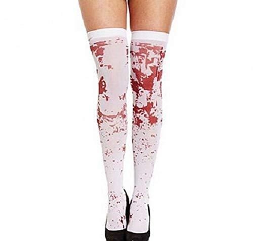 EXQUILEG Horror Socken Halloween Damen Blutflecken Strümpfe Kniestrümpfe -