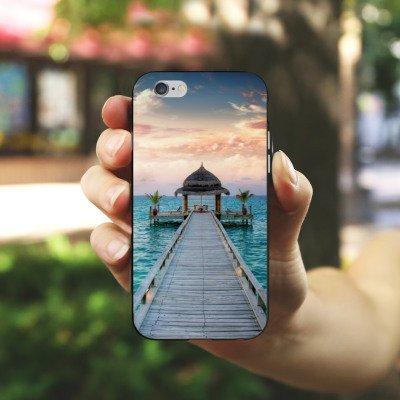 Apple iPhone 6s Housse Outdoor Étui militaire Coque Passerelle Vacances Mer Housse en silicone noir / blanc