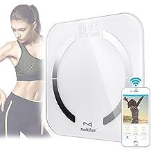 Báscula de Baño Digital, multifun Bluetooth Escala Inteligente de Grasa con App, con Análisis Corporal de Peso, Índice de Masa, Grasa, Agua, Músculo, BMR y AMR