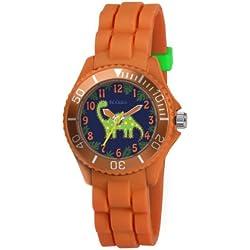 Tikkers Children's Dinosaur Design Orange Rubber Strap Watch TK0046