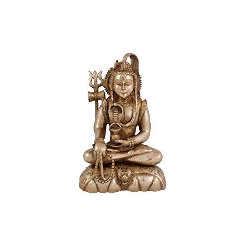 Indian Handicrafts Export Arihant Craft Hindu God Shiva Idol Bhole Baba Statue Lord Mahadev Sculpture Hand Work - 24.5 Cm (Brass, Gold) Showpiece - 24.5 Cm (Brass, Yellow, Gold)
