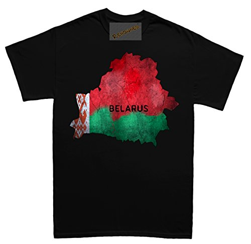 Renowned Belarus Flag Map Grunge Unisex - Kinder T Shirt Schwarz